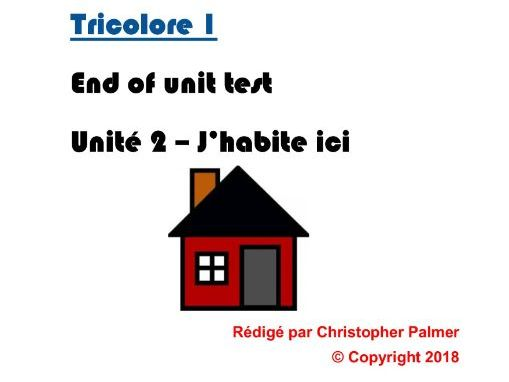 French: Tricolore 1 (5th edition) - Unit 2 end of unit test paper