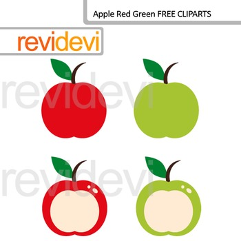 Clip Art Apple Red Green Free Clipart Teacher Resource By Revidevi