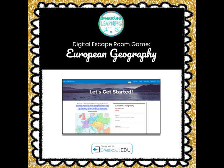 Digital European Geography Escape Room / Breakout Game