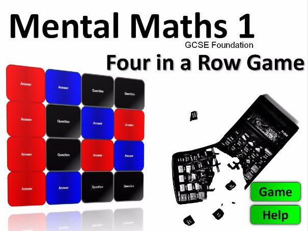 Four in a Row Interactive Quiz Game: Mental Maths GCSE Foundation 1