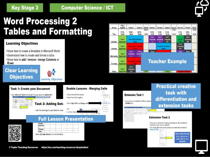 Word Processing 2 - Tables / rows / columns  and formatting for text and tables - KS3 ICT
