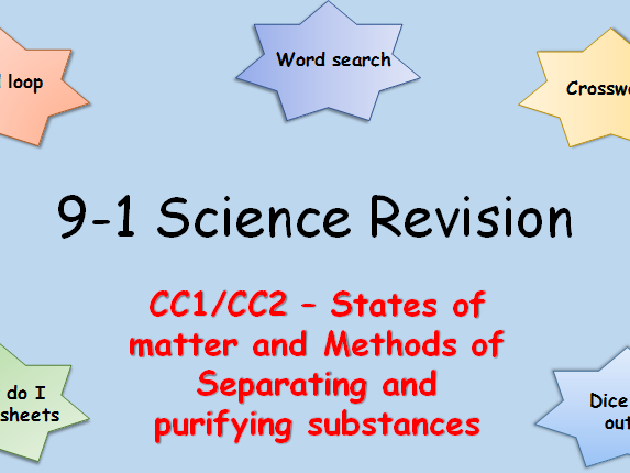 Edexcel CC1,2 States of matter and Methods of separating and purifying Revision pack Science 9-1