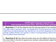 'Fog' Language GCSE exam component one Eduqas style