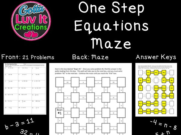 One Step Equations - 2 Mazes