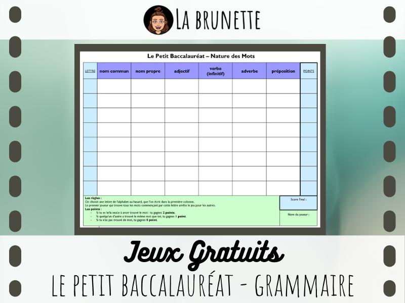 JEU - Le Petit Bac - Grammaire