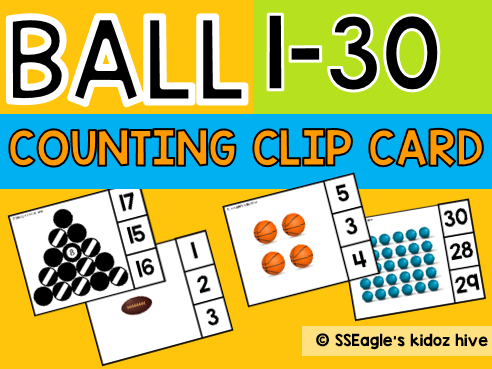 Ball Counting Clip Cards