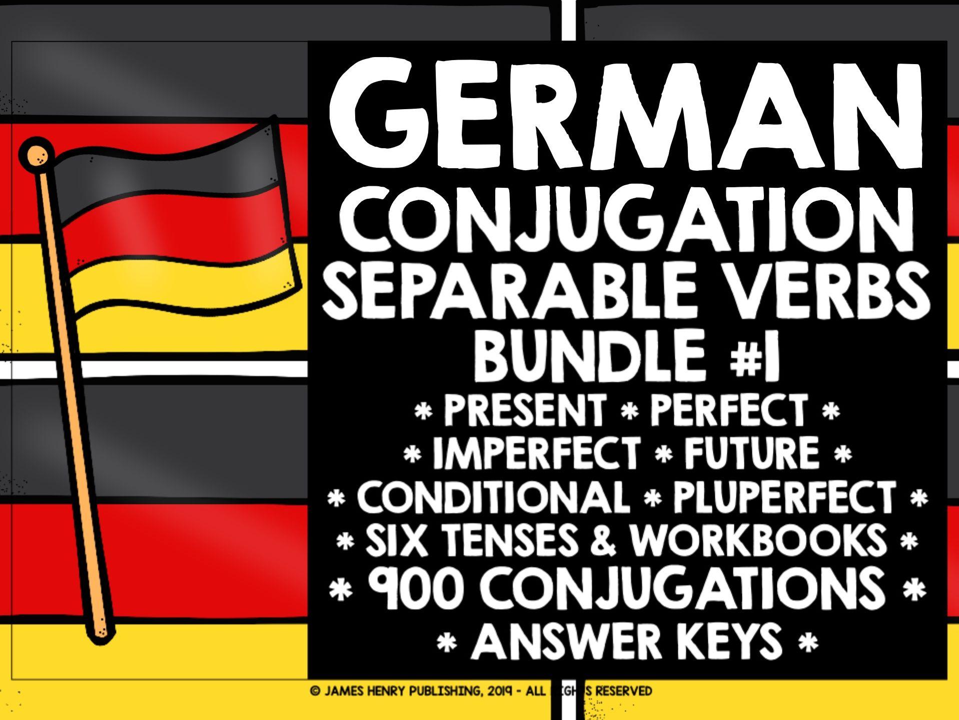 GERMAN SEPARABLE VERBS CONJUGATION PRACTICE BUNDLE #1