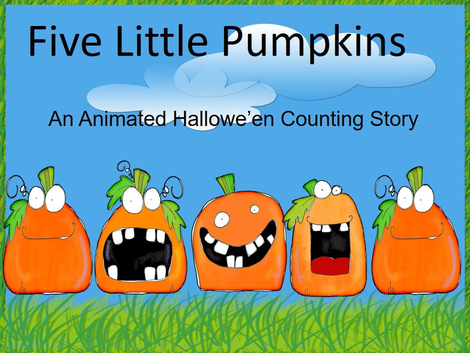 Five Little Pumpkins Animated Movie, Reader and Writing Paper