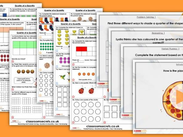 Year 1 Quarter of a Quantity Summer Block 2 Maths Lesson Pack
