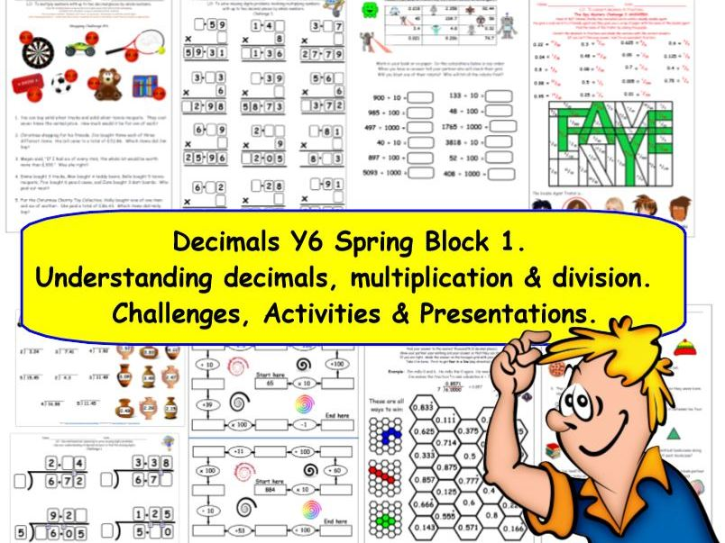 Decimals Y6 Spring Block 1  KS2 Challenges & Presentations for White Rose Small Steps