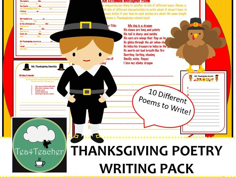 Thanksgiving Poetry Writing Pack- 10 Poems to Write- Lower Secondary Fun Writing