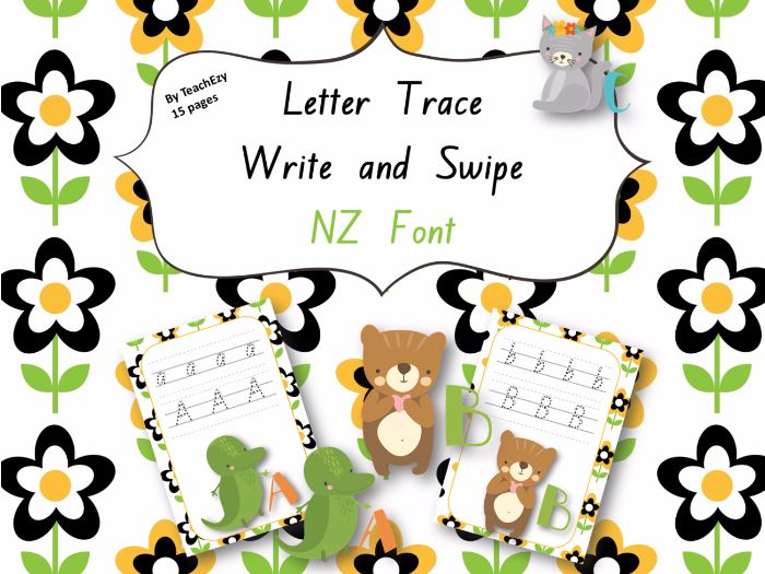 Letter Trace Write and Swipe NZ Font