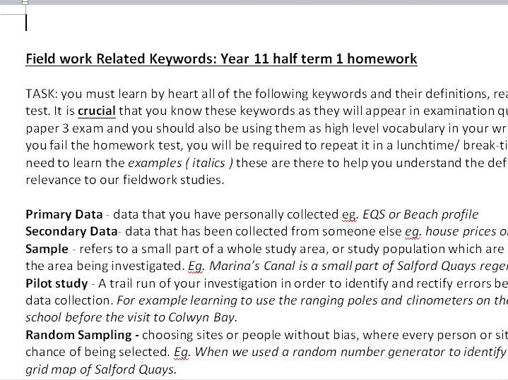 human and physical fieldwork keywords