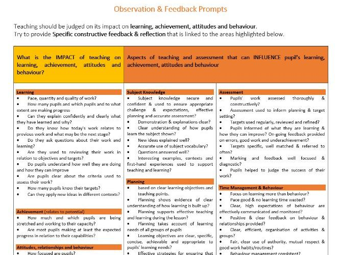 Guide to Lesson Observations - Reflection & Providing constructive feedback - NEW TEACHERS, NQT, P