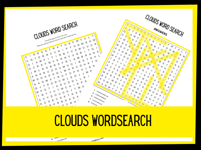 Clouds Wordsearch | KS1 KS2 Science