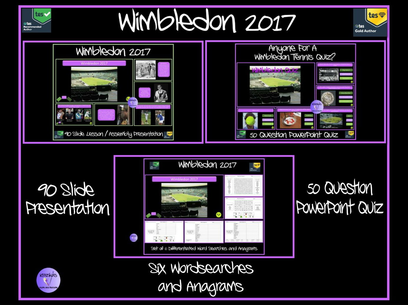 Wimbledon 2017 - 90-Slide Lesson / Assembly Presentation, 50 Question Quiz and set of 6 Differentiated, Tennis-Themed Word Searches and Anagrams