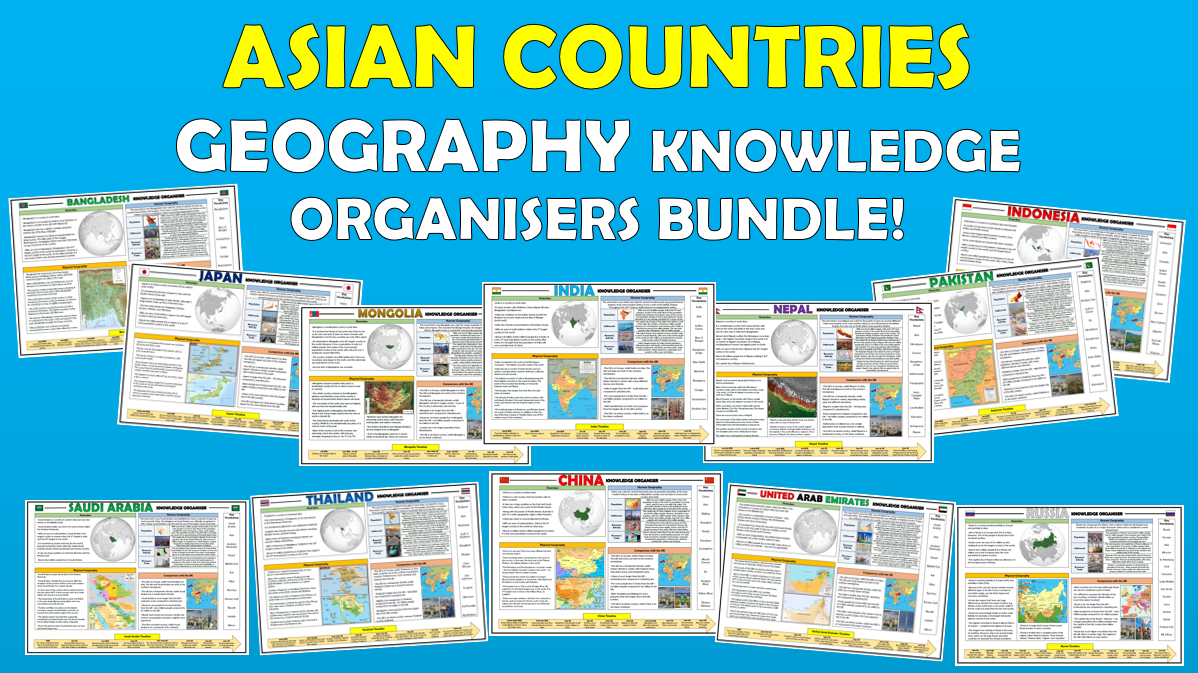 Asian Countries Geography Knowledge Organisers Bundle!