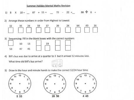 Summer Holiday Mental Maths Revision