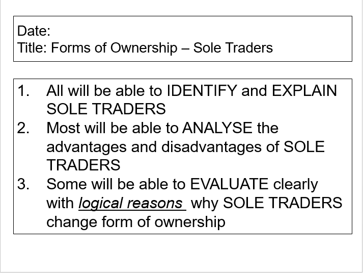 OCR GCSE Applied Business Lesson 1 - Sole Traders