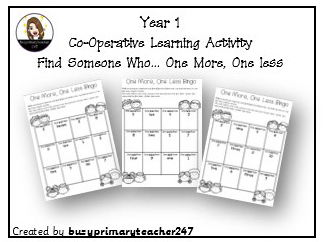 Year 1 - Place Value - Find One More, One Less - Whole Class Co-operative  activity