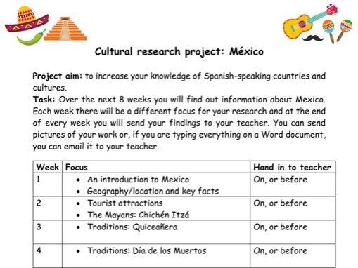KS3 Spanish Culture Project Mexico