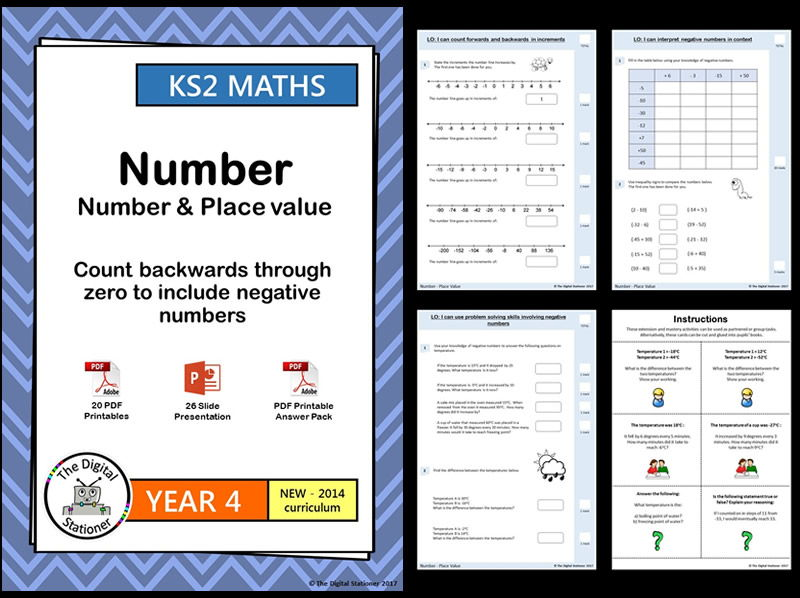 Year 4 – Count backwards through zero, negative numbers – Place Value week 1-4 White Rose (MASTERY)