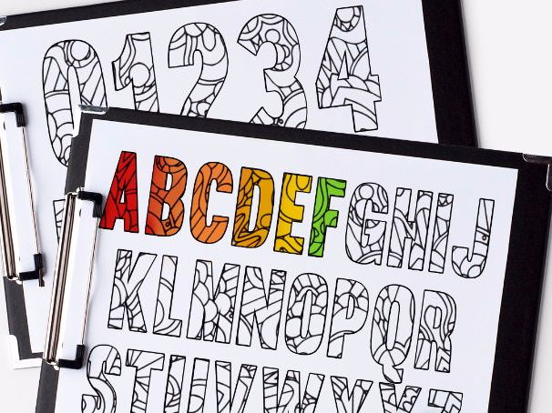 "Alphabet and Numbers coloring pages | 2 x Kids coloring pages | Printable PDF 8.5x11"" Coloring Pages"
