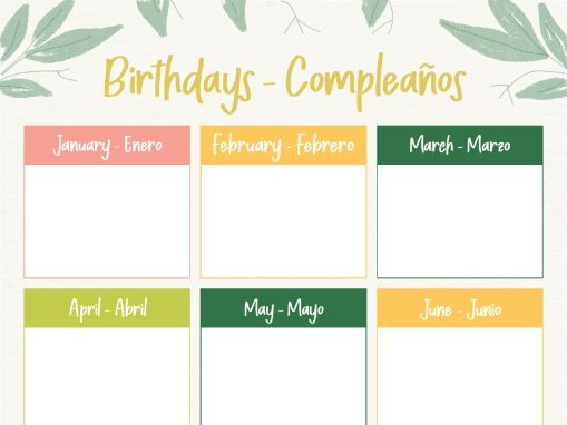 Birthday Chart (English & Spanish Headings)