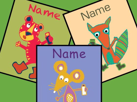 Super easy -editable ANIMAL coat name tags for pegs - choice of 44 designs - 2up and 4up on page