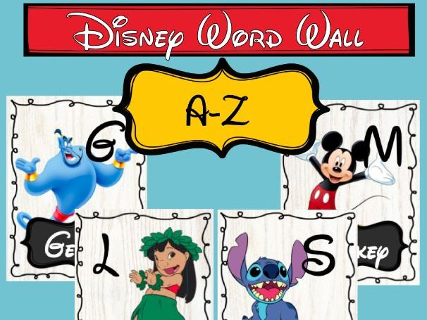 Disney Word Wall Alphabet Cards - with Characters & Names
