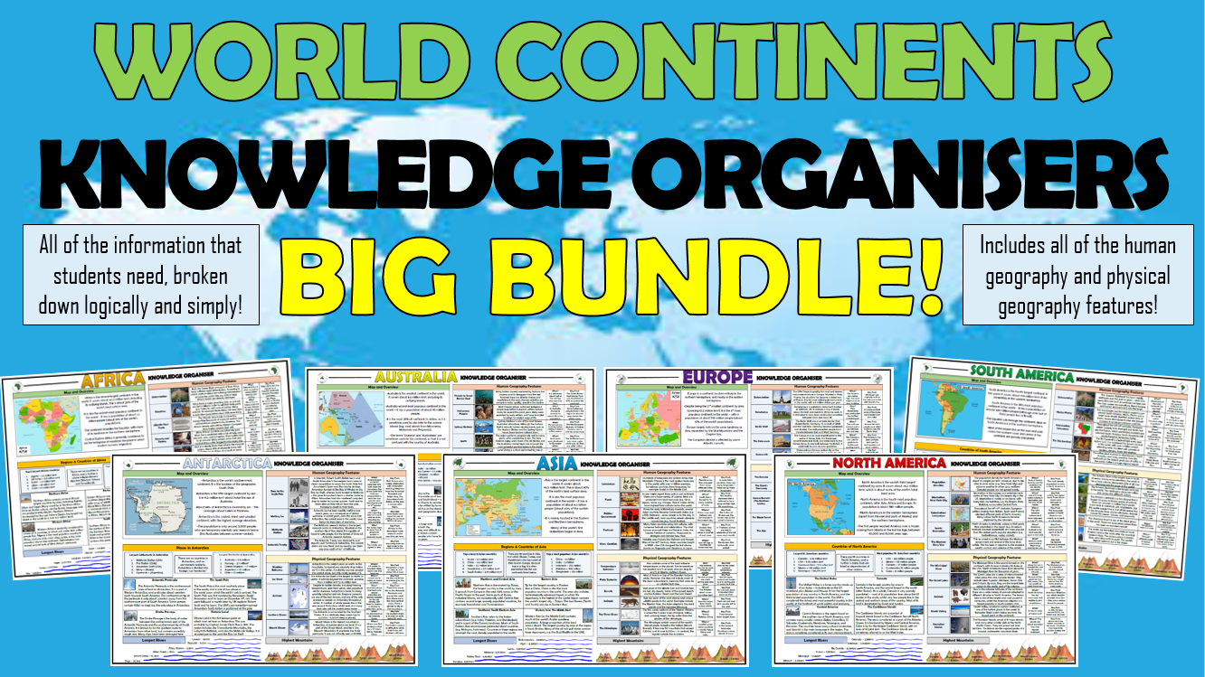 World Continents Knowledge Organisers Big Bundle!