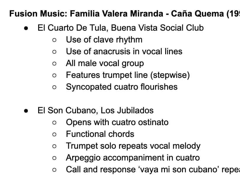Edexcel A Level Music: Familia Valera Miranda Further Works