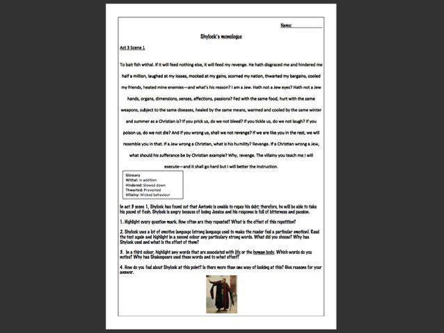 Merchant of Venice worksheet: Shylock's monologue in act 3 scene 1