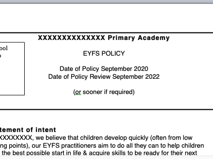 Early Adoption EYFS Policy 2020