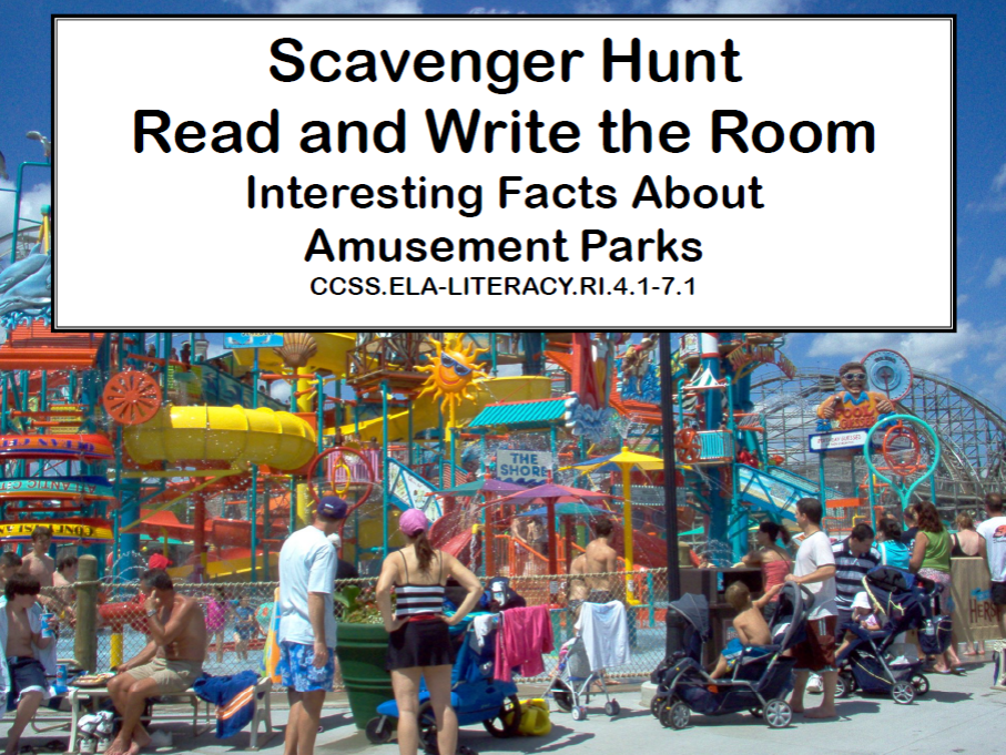 Amusement Parks- Read and Write The Room- Grades 4-7