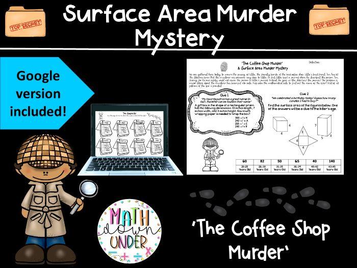 Surface Area (Nets, Prisms, Pyramids) Math Murder Mystery - PDF & Digital