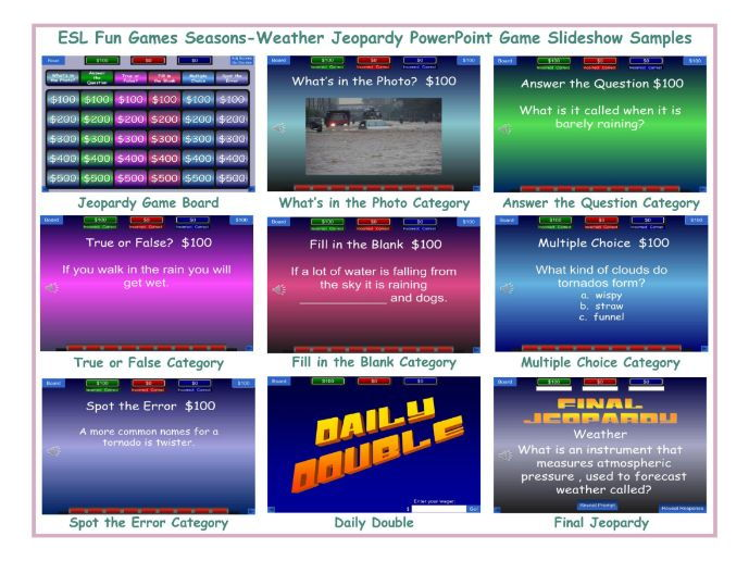 Seasons-Weather Jeopardy PowerPoint Game Slideshow