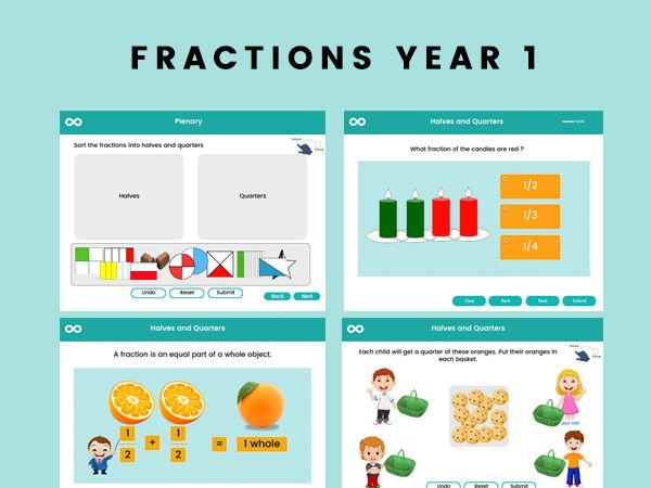 Fractions -Half & Quarters - Year 1 Digital Activities