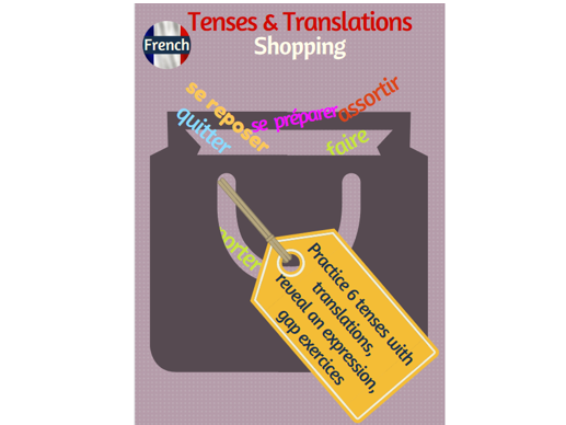 Tenses and Translations practice in French with the shopping topic
