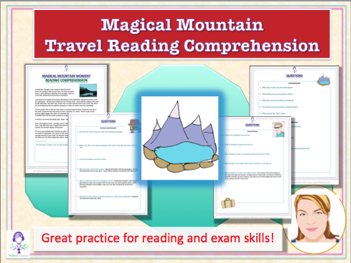 Downloadable Non Fiction Travel Reading Comprehension Magic Mountain article and worksheet
