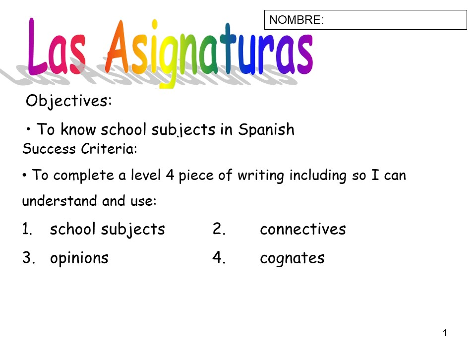 School subjects Spanish - complete lesson and homework/worksheet