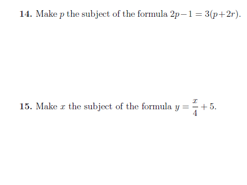 Changing the subject of a formula  (with detailed solutions)