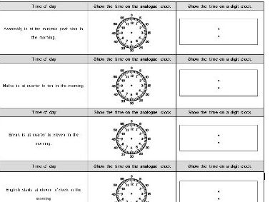 Measurement: Time (showing the time on an analogue and digital clock)