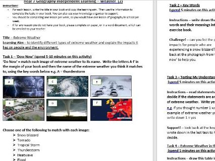 Year 7 – Extreme Weather Remote Learning Lesson