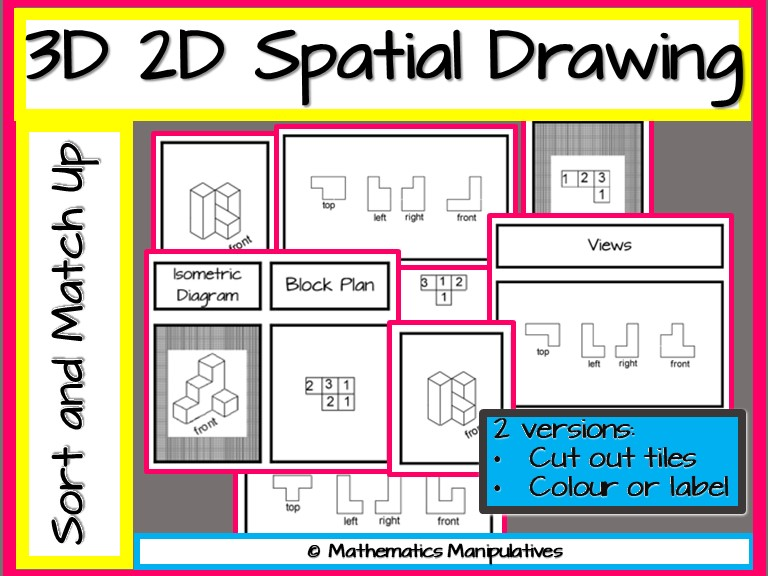Geometry 3D 2D Spatial Drawing Match-Up