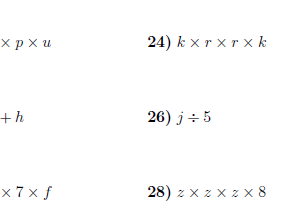 Algebraic manipulation worksheet (with solutions)