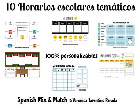 10 SCHOOL TIMETABLE TEMPLATES + SPANISH VOCABULARY