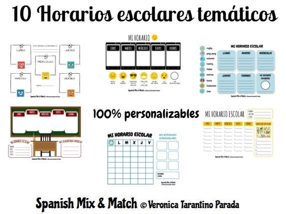 10 SCHOOL TIMETABLE TEMPLATES + SPANISH VOCABULARY