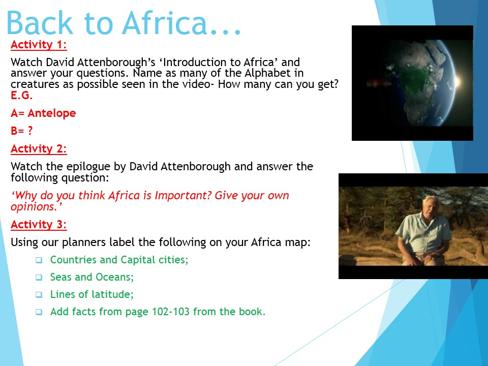 Year 7 2017 SOW Spring Term Africa 1) Africa Introduction WITH ANSWERS