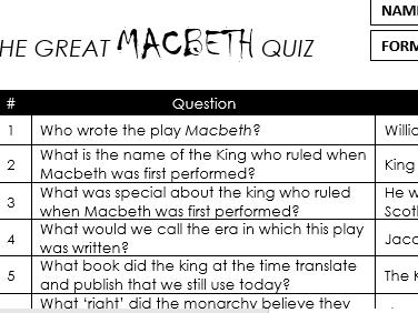 GCSE Macbeth 75 Question Quiz